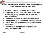 1960 s antithesis software is not like hardware four brooks factors plus two