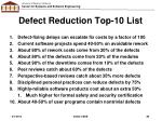 defect reduction top 10 list1
