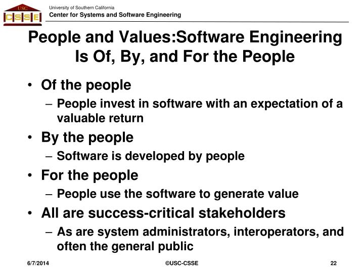 People and Values:Software Engineering Is Of, By, and For the People