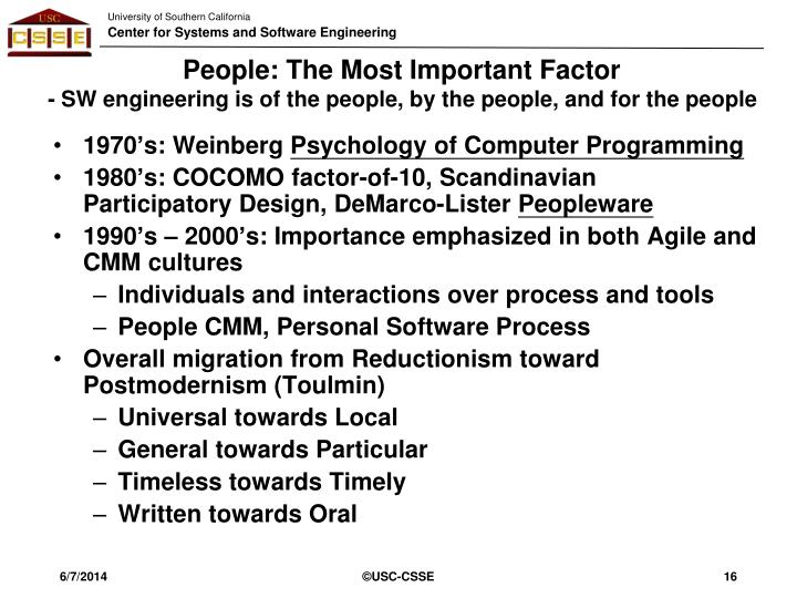 People: The Most Important Factor