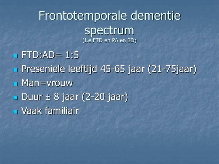 Frontotemporale dementie spectrum