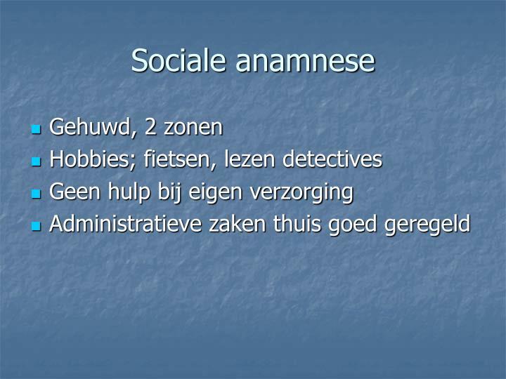 Sociale anamnese