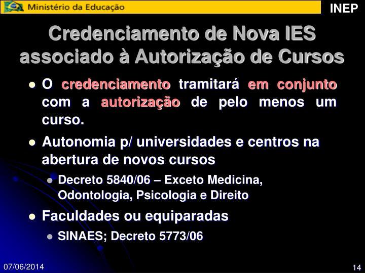 Credenciamento de Nova IES associado à Autorização de Cursos