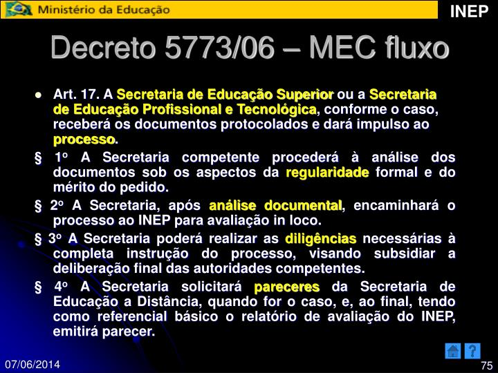 Decreto 5773/06 – MEC fluxo