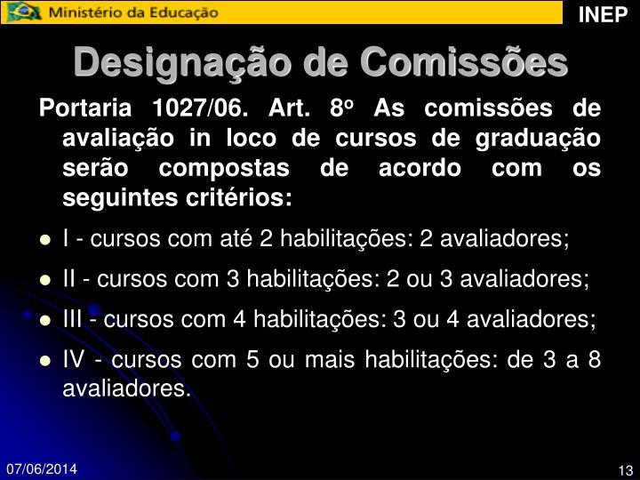 Designação de Comissões