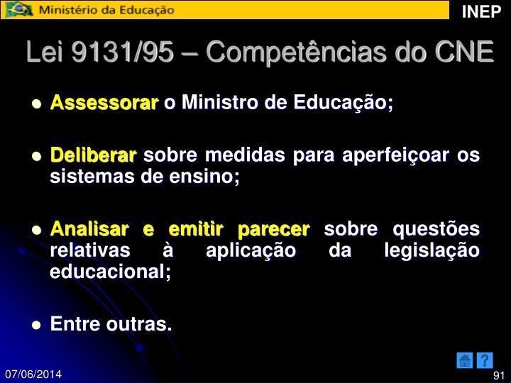 Lei 9131/95 – Competências do CNE