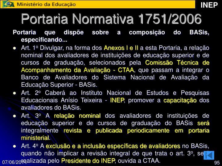 Portaria Normativa 1751/2006