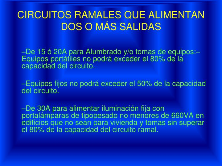 CIRCUITOS RAMALES QUE ALIMENTAN DOS O MÁS SALIDAS
