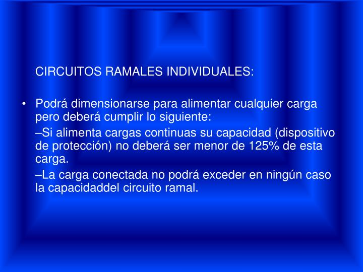 CIRCUITOS RAMALES INDIVIDUALES: