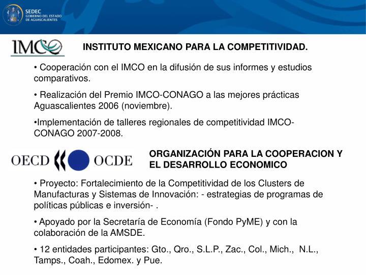 INSTITUTO MEXICANO PARA LA COMPETITIVIDAD.