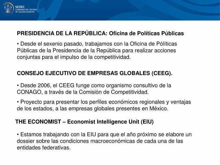 PRESIDENCIA DE LA REPÚBLICA: Oficina de Políticas Públicas