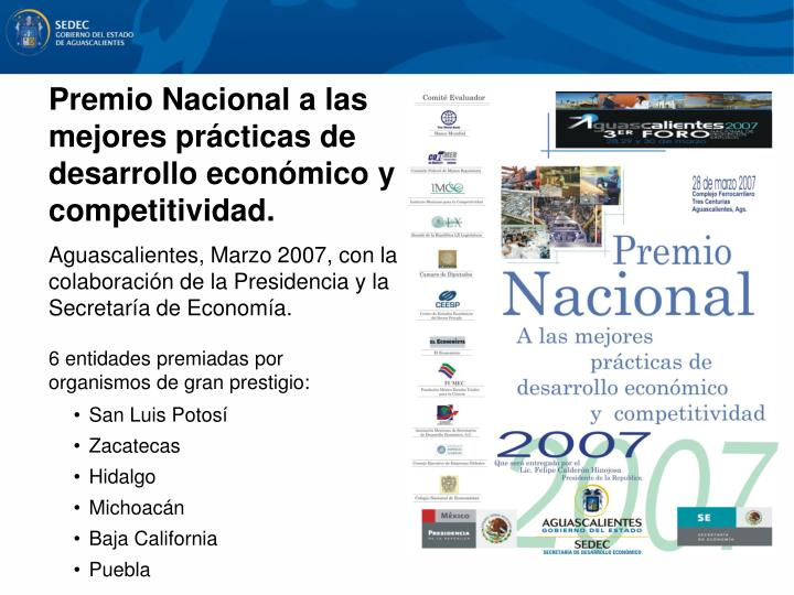 Premio Nacional a las mejores prácticas de desarrollo económico y competitividad.