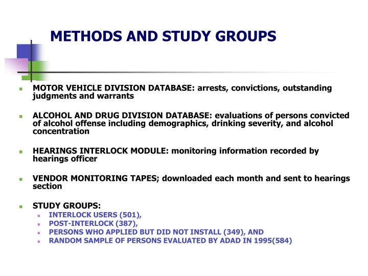 METHODS AND STUDY GROUPS