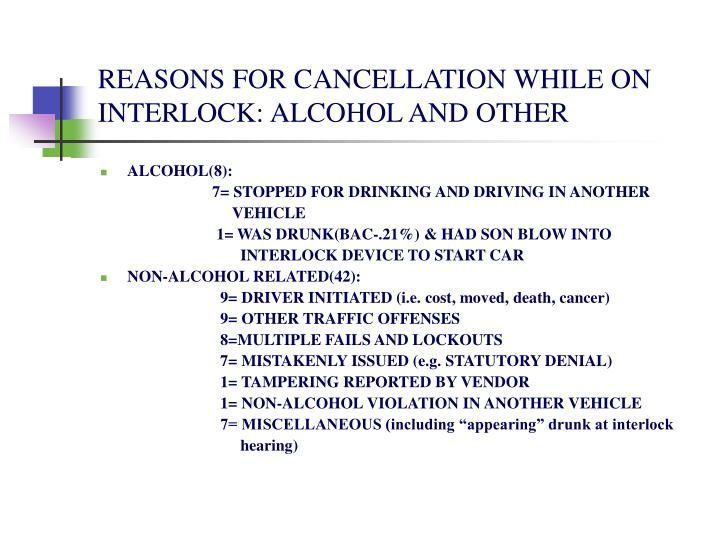 REASONS FOR CANCELLATION WHILE ON INTERLOCK: ALCOHOL AND OTHER