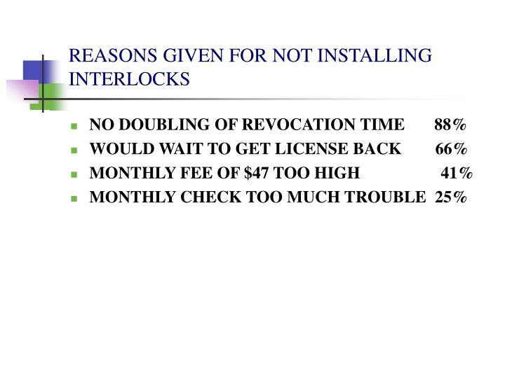 REASONS GIVEN FOR NOT INSTALLING INTERLOCKS