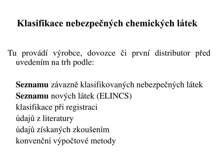 Klasifikace nebezpečných chemických látek