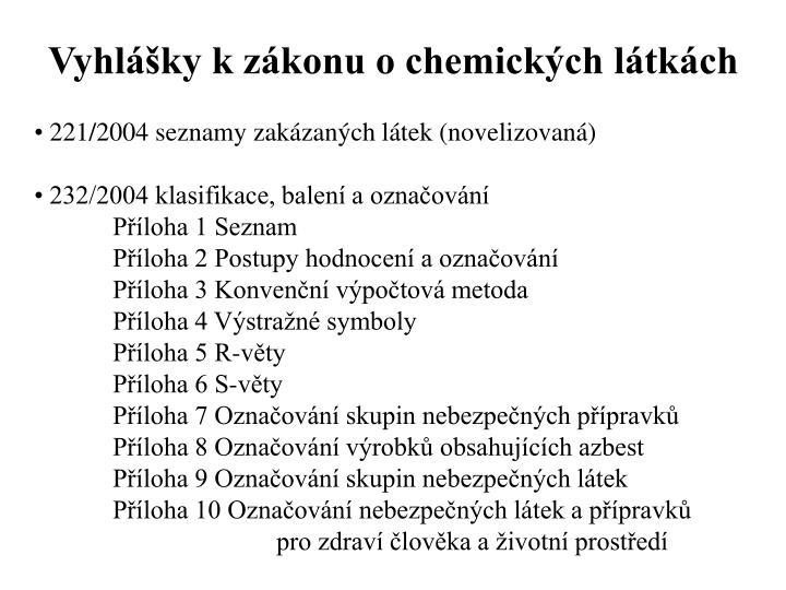 Vyhlášky k zákonu o chemických látkách