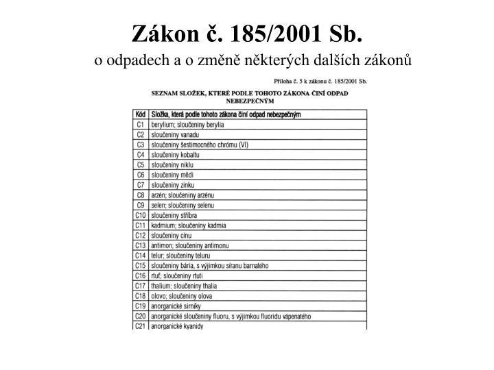 Zákon č. 185/2001 Sb.
