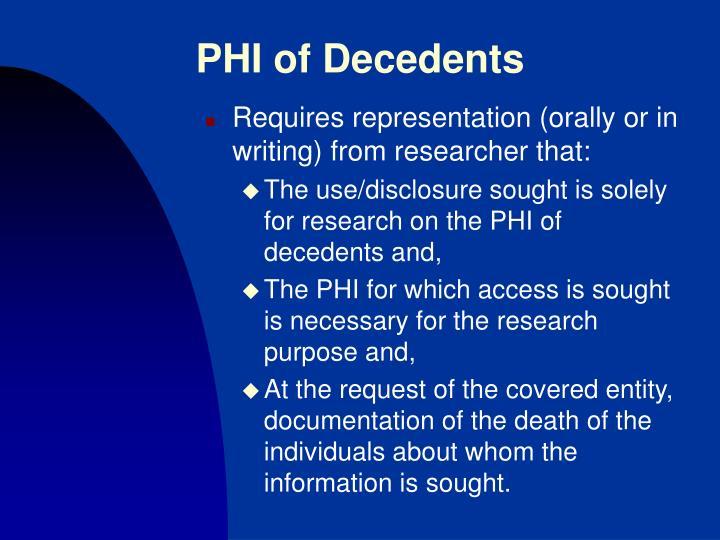 PHI of Decedents