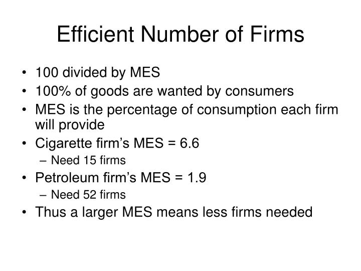 Efficient Number of Firms