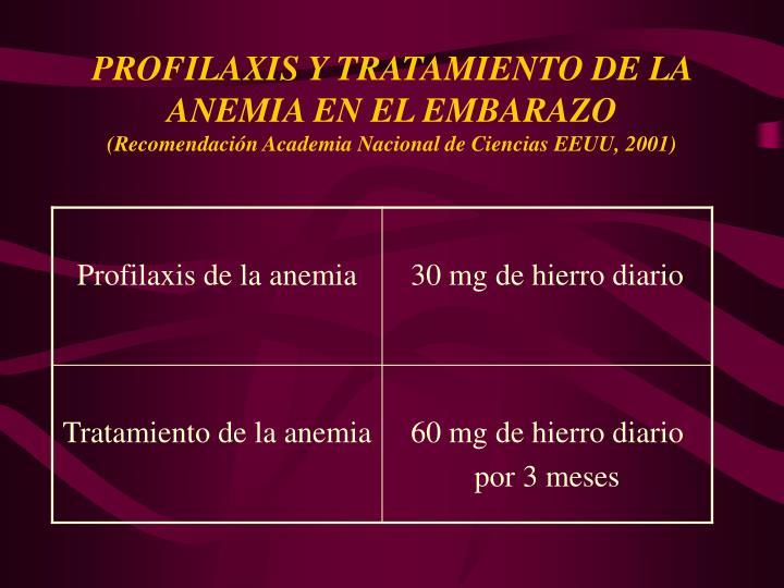 PROFILAXIS Y TRATAMIENTO DE LA ANEMIA EN EL EMBARAZO