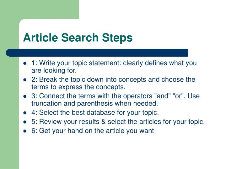 Article Search Steps