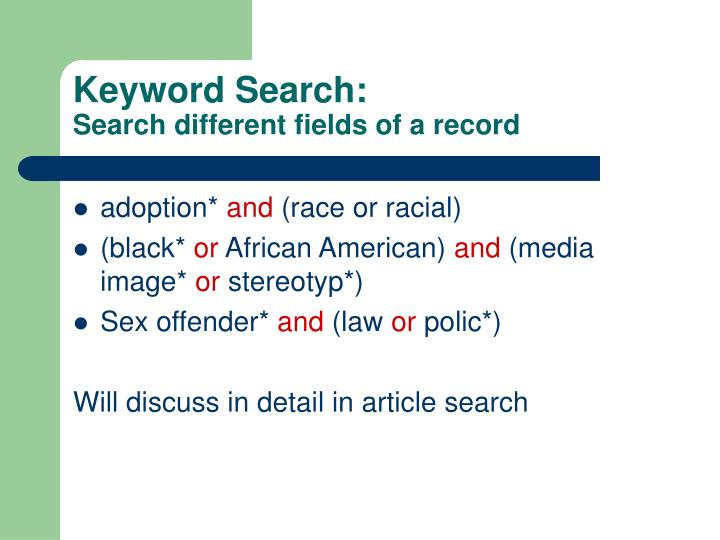 Keyword Search: