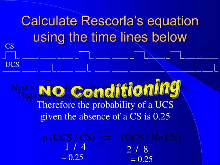 Calculate Rescorla's equation using the time lines below
