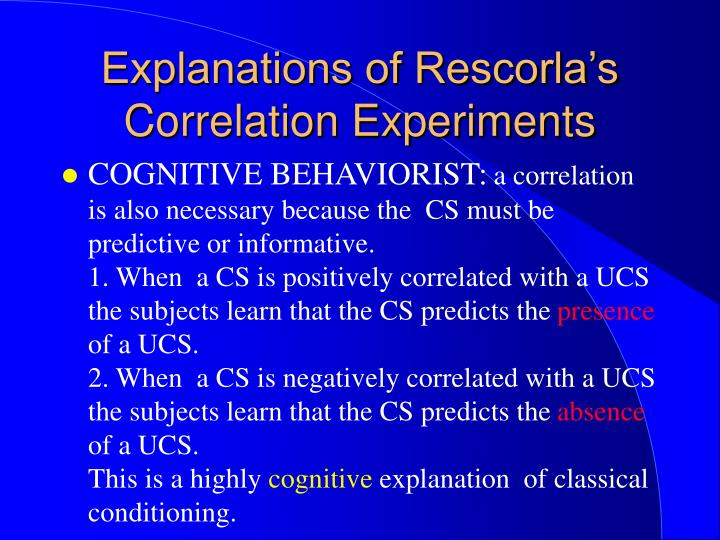 Explanations of Rescorla's Correlation Experiments