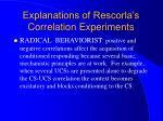 explanations of rescorla s correlation experiments1