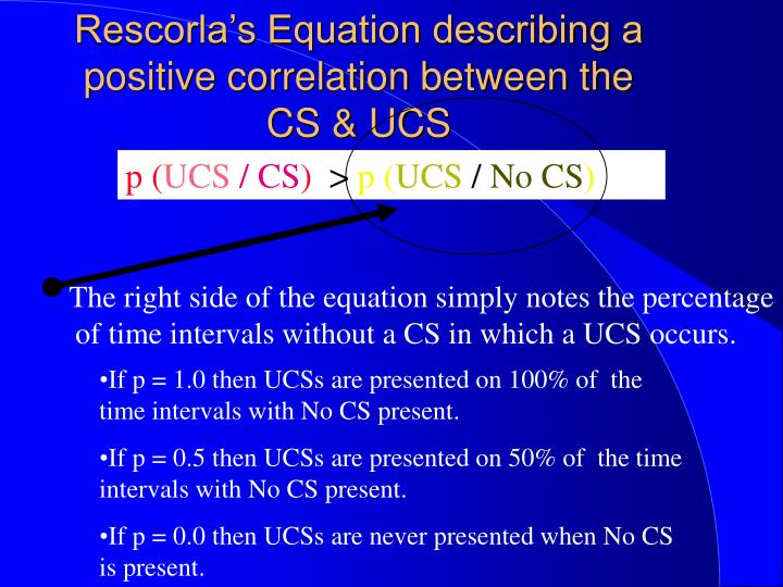 Rescorla's Equation describing a positive correlation between the