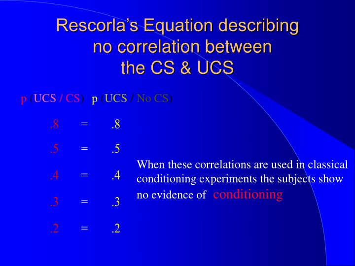Rescorla's Equation describing