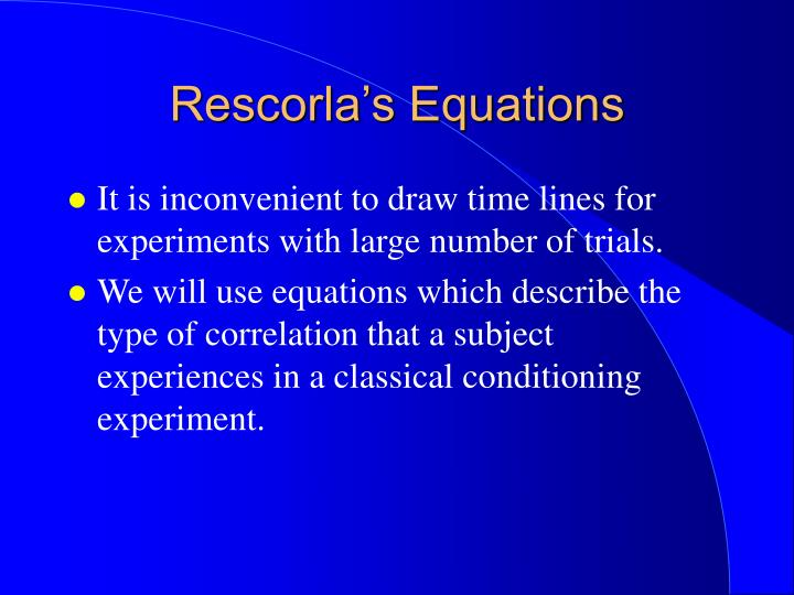 Rescorla's Equations