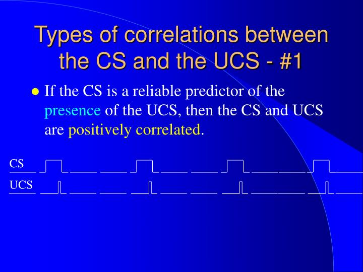 Types of correlations between the cs and the ucs 1