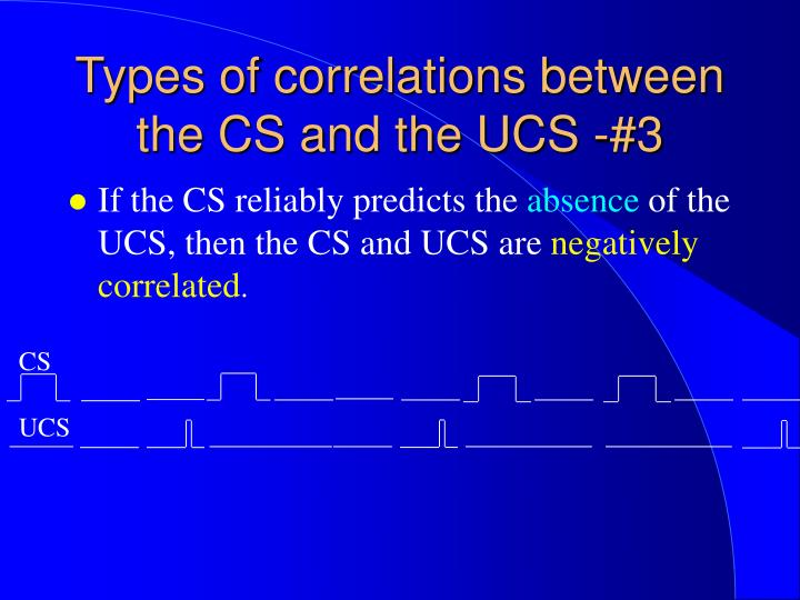 Types of correlations between the CS and the UCS -#3