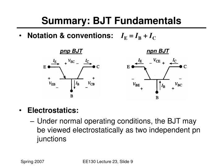 Summary: BJT Fundamentals