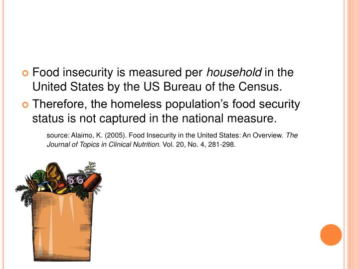 Food insecurity is measured per