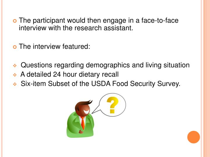The participant would then engage in a face-to-face interview with the research assistant.