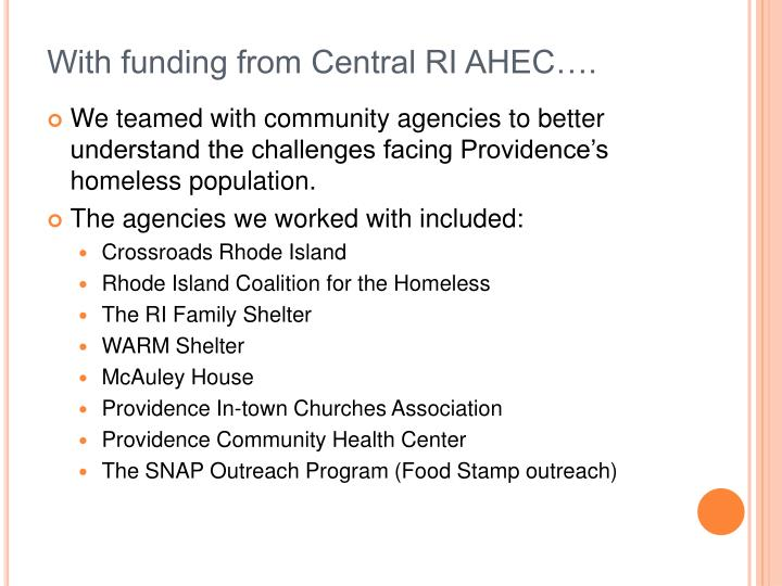 With funding from Central RI AHEC….