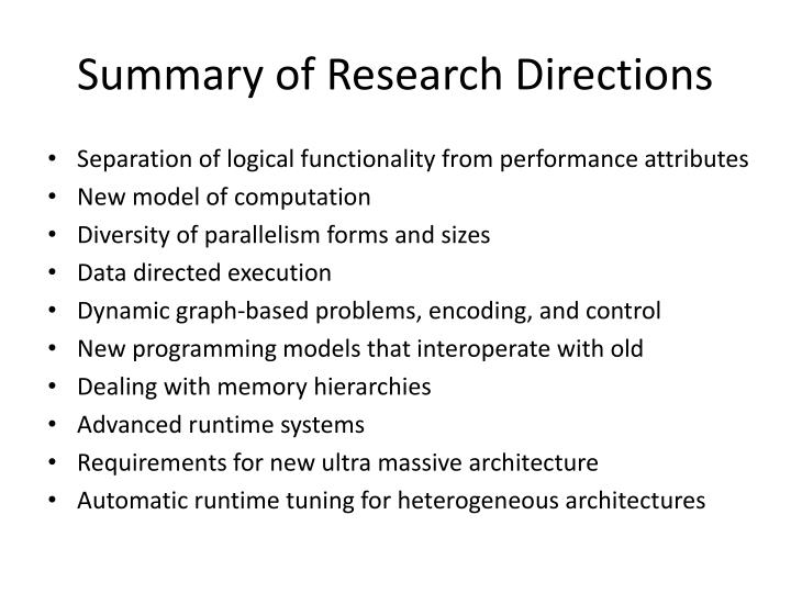 Summary of Research Directions