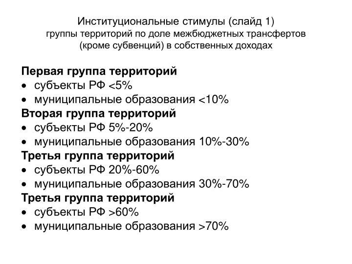 Институциональные стимулы (слайд 1)