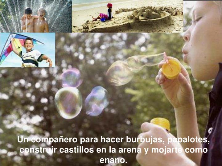 Un compañero para hacer burbujas, papalotes, construircastillos en la arena y mojarte como enano.