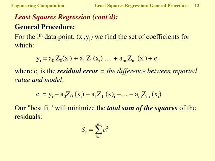 Least Squares Regression (cont'd):