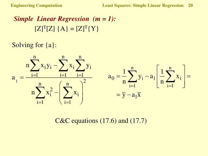 Simple  Linear Regression  (m = 1):