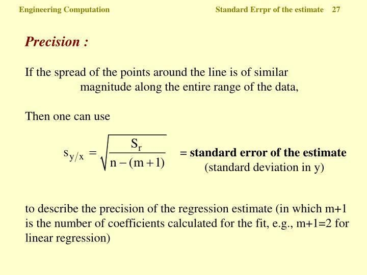 Engineering Computation  Standard Errpr of the estimate