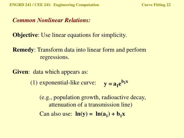 ENGRD 241 / CEE 241:  Engineering Computation Curve Fitting