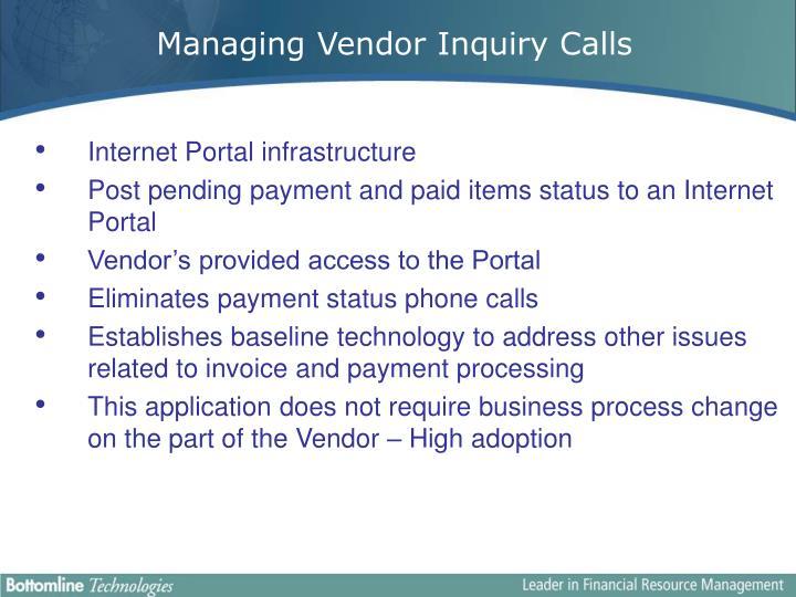 Managing Vendor Inquiry Calls