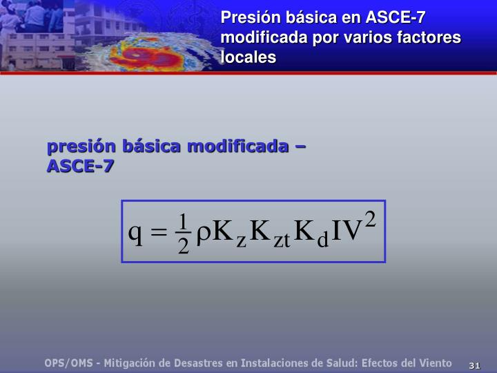 Presión básica en ASCE-7 modificada por varios factores locales