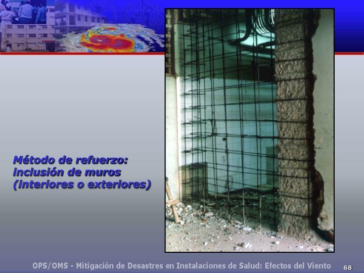 Método de refuerzo: inclusión de muros (interiores o exteriores)
