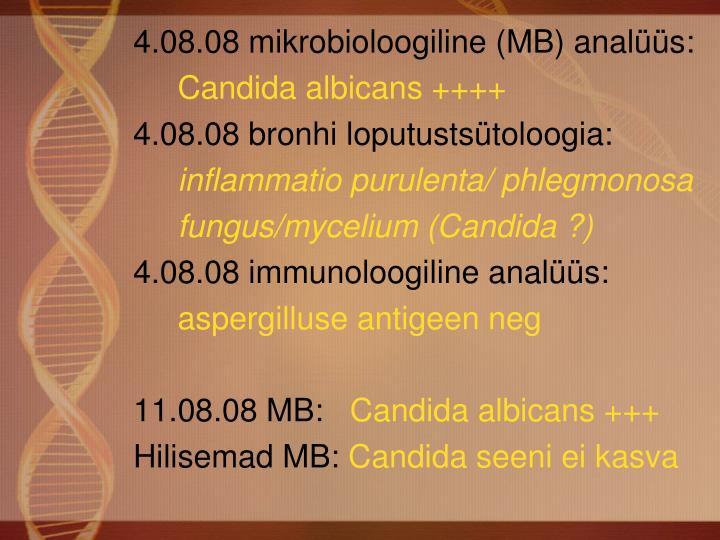4.08.08 mikrobioloogiline (MB) analüüs: